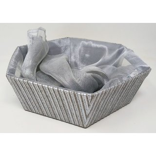 Silver gift hamper basket with organza net cover