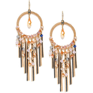 Jewels Galaxy Exclusive Luxuria Edition Sparkling Colors Marvellous Pair Of Onyx Designer Tassel Earrings For Women/Girl