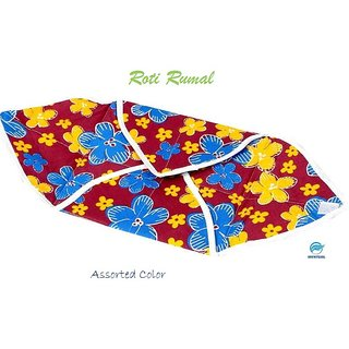 Snowpearl Roti/Chapati Covers , Traditional Roti Rumals - Pure Cotton Cover, Assorted Color  Design (Set of 1, Square)