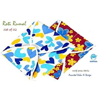 Snowpearl Roti/Chapati Covers ,Traditional Roti Rumals - Pure Cotton Cover, Assorted Color  Design (Set of 2, Square)