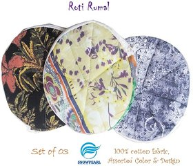 Snowpearl Roti/Chapati Covers , Traditional Roti Rumals - Pure Cotton Cover, Assorted Color  Design (Set of 3, Round)