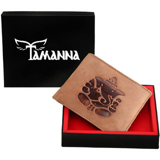 Tamanna Men Tan Genuine Leather Wallet(7 card slots)With Ganesh Sign