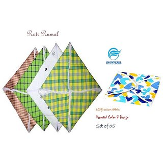 Snowpearl Roti/Chapati Covers ,Traditional Roti Rumals - Pure Cotton Cover, Assorted Color  Design (Set of 5, Square)