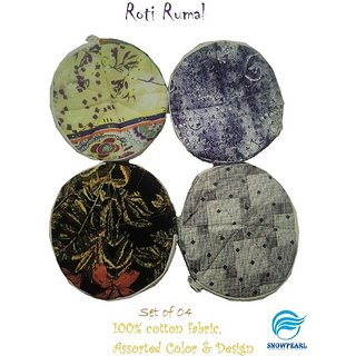 Snowpearl Roti/Chapati Covers , Traditional Roti Rumals - Pure Cotton Cover, Assorted Color  Design (Set of 4, Round)