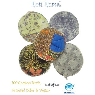 Snowpearl Roti/Chapati Covers , Traditional Roti Rumals - Pure Cotton Cover, Assorted Color  Design (Set of 5, Round)