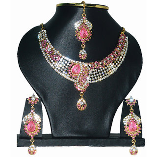 Indian Gold Jewellery Golden Colour Copper Wedding Necklace Set with earrings for Girls and Women