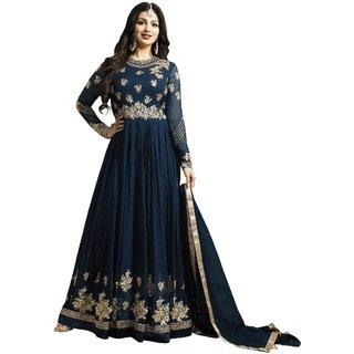 Om Fashion Latest Faux Georgette Navy Blue Party Wear Anarkali Salwar Kameez( F1132Navy Blue)