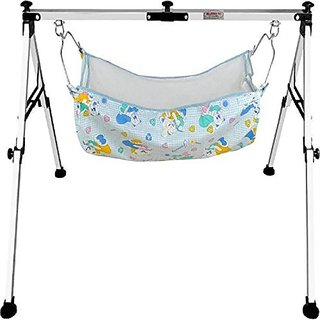 FOLDING BABY CRADLE STAINLESS STEEL 2 FT WITH HAMMOCK