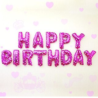 Buy Cute Pink Alphabet Letters Foil Balloons Happy Birthday Party Decoration 13 16 Online