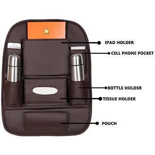 Autofurnish 3D Car Auto Seat Back Multi Pocket Storage Bag Organizer Holder Hanger Accessory (Brown)