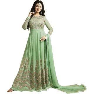 Om Fashion Latest Faux Georgette Light Green Party Wear Anarkali Salwar Kameez( F1133Light Green)