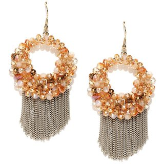 Jewels Galaxy Limited Edition Delicate Pearl Studded Stunning Tassel Earrings For Women/Girls
