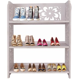 Zahab Mangowood Pure Wooden Shoe Rack for Office Home 3 Layer Wooden Shoe Rack Portable Shoe Rack / Shoe Cabinet / Sho