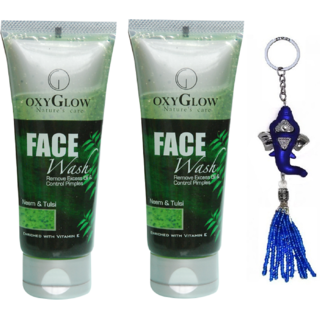 Oxyglow Neem Tulsi Face Wash 2 x 50 (Pack of 2) + Free Stylos Ganesh Key Chain Worth Rs.199