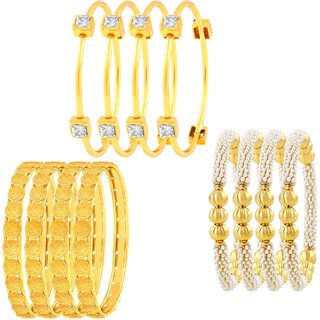 Asmitta Luxurious Laxmi Coin Traditional Gold Plated Set Of 3 Bangle Set For Women