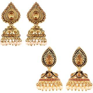 Asmitta Traditionally Jhumki Gold Plated Combo Of 2 Earring For Women