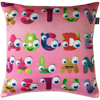 Lushomes Kids Alphabets 2 Digital Printed Cushion Cover with top white invisible zipper (16 x 16 Single Pc)