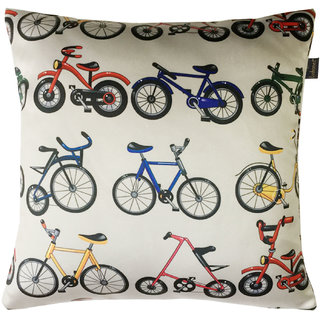 Lushomes Kids Bicycles Digital Printed Cushion Cover with top white invisible zipper (16 x 16 Single Pc)