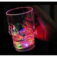 LED Flashing Skull Face Cup Beer Whisky Mug 400 ML Bar Ware Decor Home Party