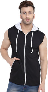 Gritstones Black/White Sleeveless Hooded Gym Jacket