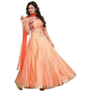 Om Fashion Latest Cotton Slab Orange Party Wear Anarkali Salwar Kameez( F1144Orange)