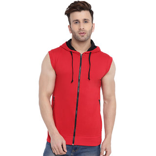 Gritstones Red/Black Sleeveless Hooded Gym Jacket