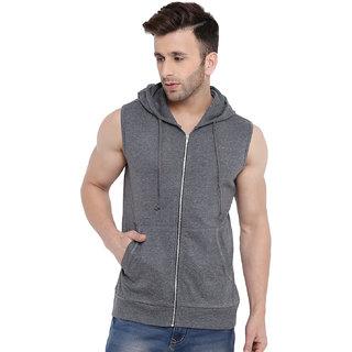 Gritstones Dark Grey Sleeveless Hooded Gym Jacket