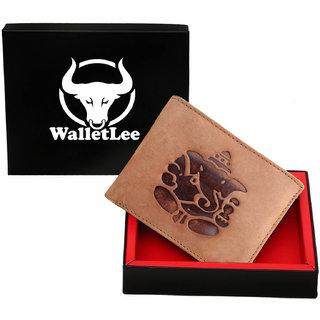 WalletLee Men Tan Genuine Leather Wallet(7 card slots)With Ganesh Sign