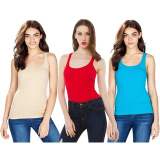 Amoya Women's Multicolor Racer Back Tank Top Pack of 3