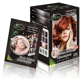 Dexe Black Hair Shampoo - 25ml x 10 (WINE RED No.8))