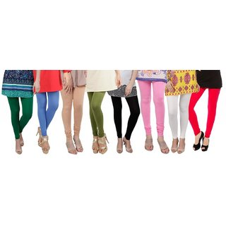 Bembee Multicolour Viscose Leggings - Pack of 8