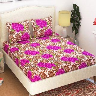 Purple Cotton Queen Size Bedsheet - Set of 3 by Azaani