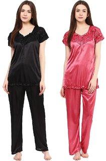Boosah Women's Black & Pink Satin 2 Night Suit