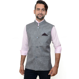 OORA HARTMANN Men's Silver Light Grey Color Woven Cotton Blend Nehru and Modi Jacket Ethnic Style For Party Wear