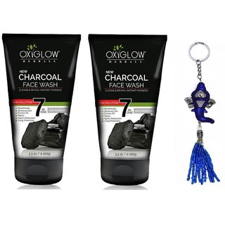 Oxyglow Charcol Face Wash 2 x 100 (Pack of 2) + Free Stylos Ganesh Key Chain Worth Rs. 199