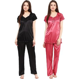 4797ad2def3 Boosah Women's Black & Pink Satin 2 Night Suit