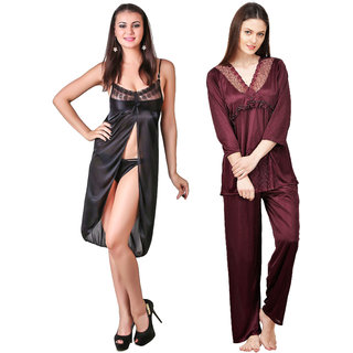 Boosah Multicolour Satin Nightwear Set - Pack of 2