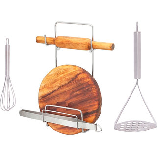 OSE Combo Pack of 3 High Quality ( Stainless Steel ) Chakla Belan Stand  Potato Masher For Kitchen And Stainless Steel
