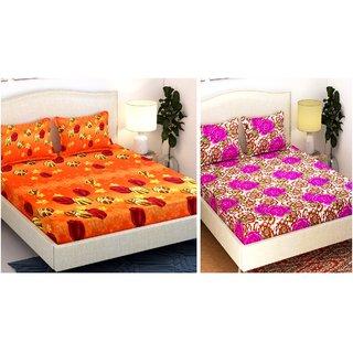 Orange  Purple Cotton Queen Size Bedsheet - Set of 6 by Azaani