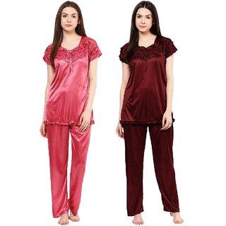 fdda7991de Buy Boosah Women's Purple & Red Satin 2 Night Suit Online - Get 54% Off