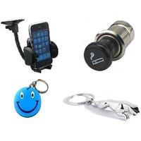 Combo Of Mobile Holder+Cigarette Lighter+Jaguar Key Chain Free Smiley Key Chain. - 5395264
