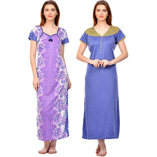 a82af6f409 Buy Boosah Women s Multicolor Cotton Lycra Pack of 2 Nighty Online ...