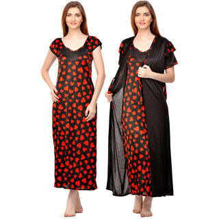 04f2918004 Buy Boosah Women s Black   Red Satin Printed Nighty   Robe Online - Get 66%  Off