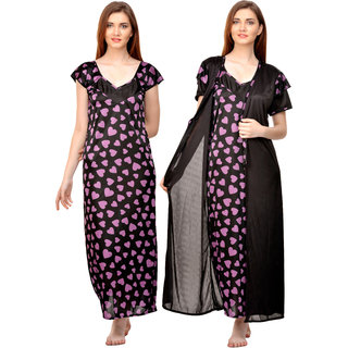 e98ab63f1a Buy Boosah Women s Black   Purple Satin Printed Nighty   Robe Online ...