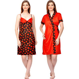 Boosah Women's Black & Red Satin Printed  Nighty &  Robe