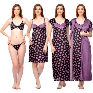 Buy Boosah Women s Black   Purple Satin Printed Long Nighty   Short Nighty    Robe   Bra   Panty Online - Get 72% Off b3640b3cc