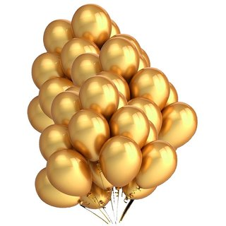 Golden Metallic Balloons set of - 50Pcs (9-12inch) perfect for theme party birthday party Extra Shine Golden balloons