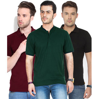 Ketex Men Multicolor Half Sleeve Polo Collar Pack of 3 Tshirt