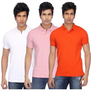 KETEX Mens Multicolor Half Sleeve Polo Pack of 3 Tshirt