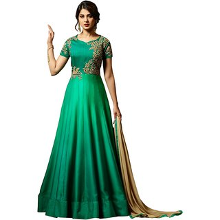 Om Fashion Latest Mazik Silk Green Party Wear Anarkali Salwar Kameez( F1153Green)